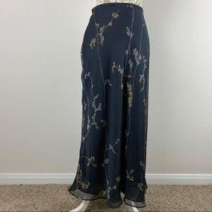 Ann Taylor Petites Black Floral Maxi Skirt 10P